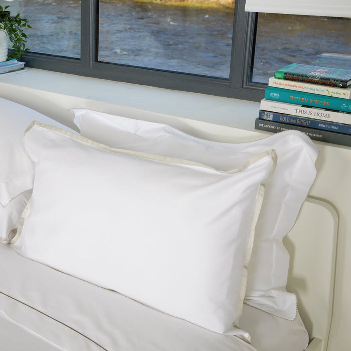 Sateen Border White/Nacre Housewife Pillowcase
