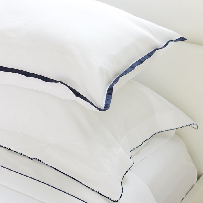 Sateen Border White/Navy Housewife Pillowcase