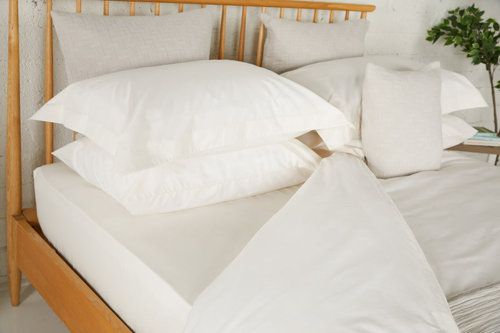 Ivory Percale Plain Dye Housewife Pillowcases - Pair