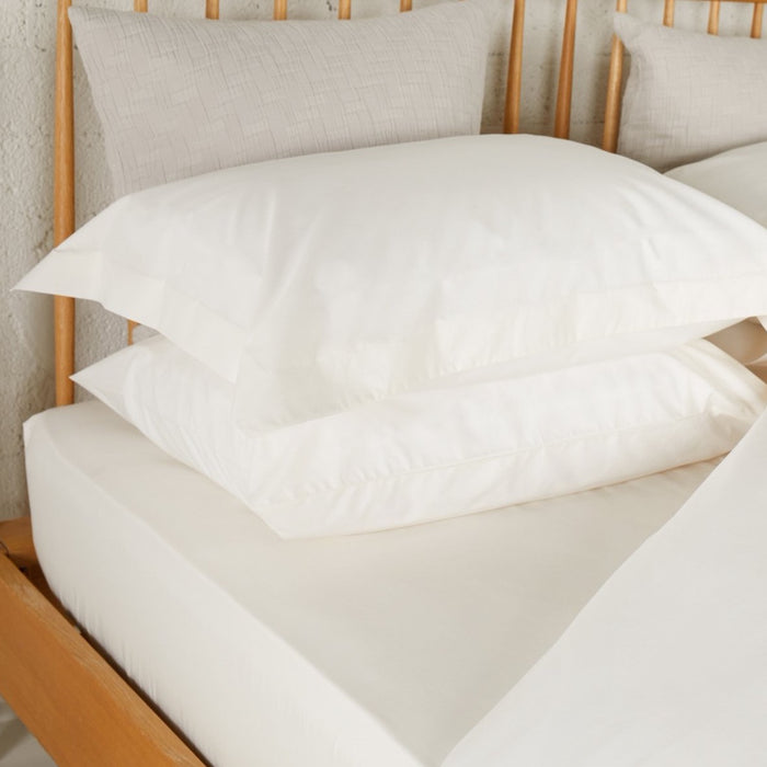 Ivory Percale Plain Dye Oxford Pillowcase