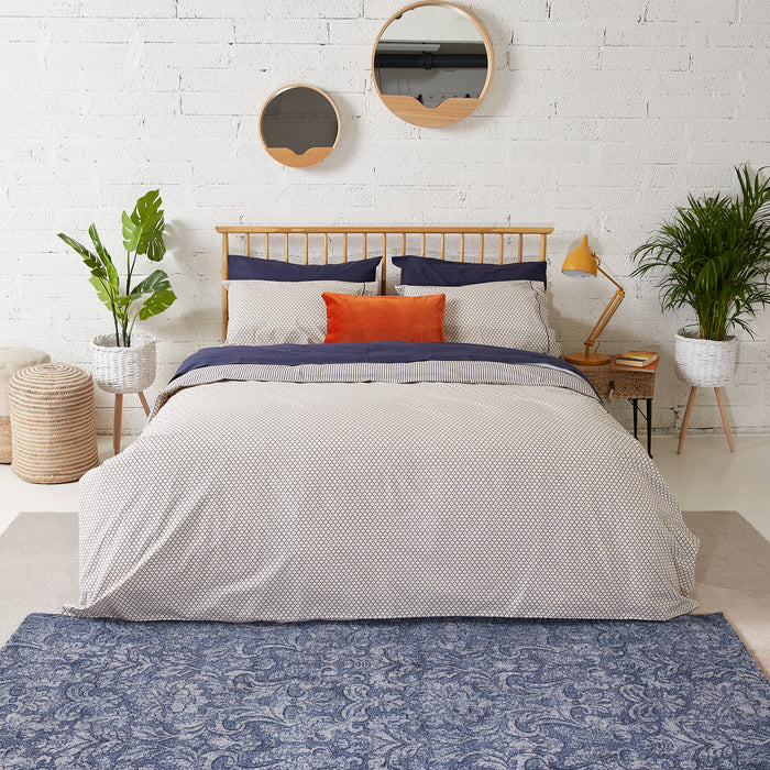 Honeycomb & Navy Ticking Duvet Cover