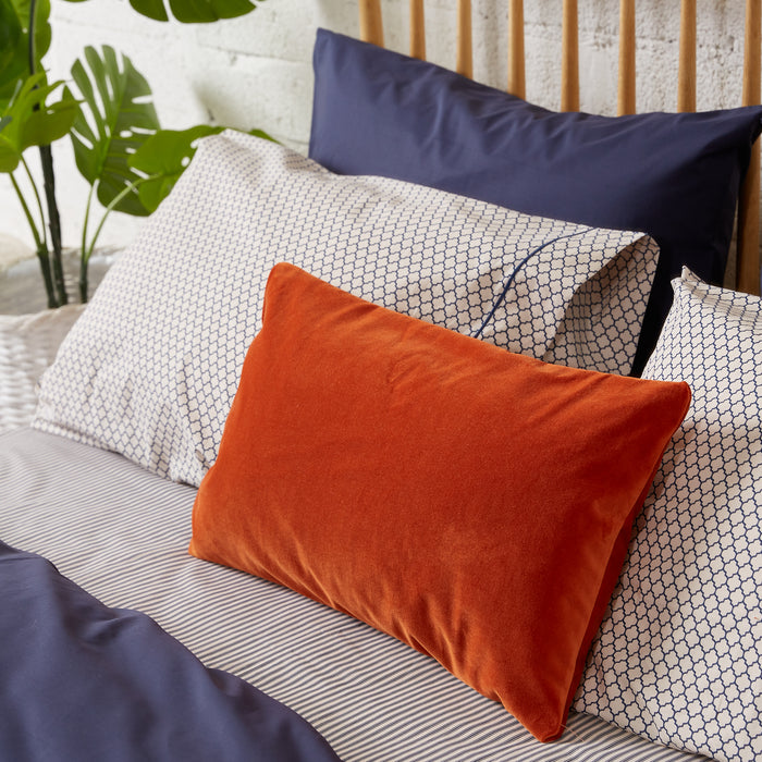 Honeycomb Solid Cream & Navy Housewife Pillowcase - Pair