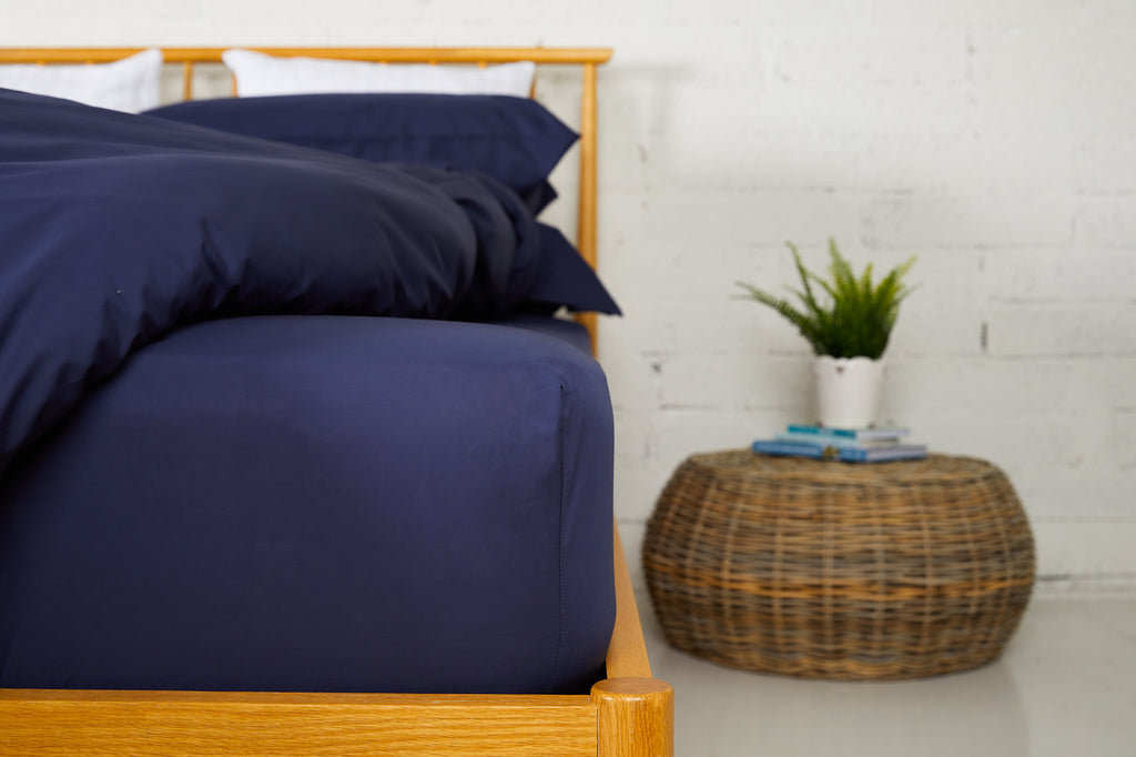 Midnight Percale Plain Dye Fitted Sheet