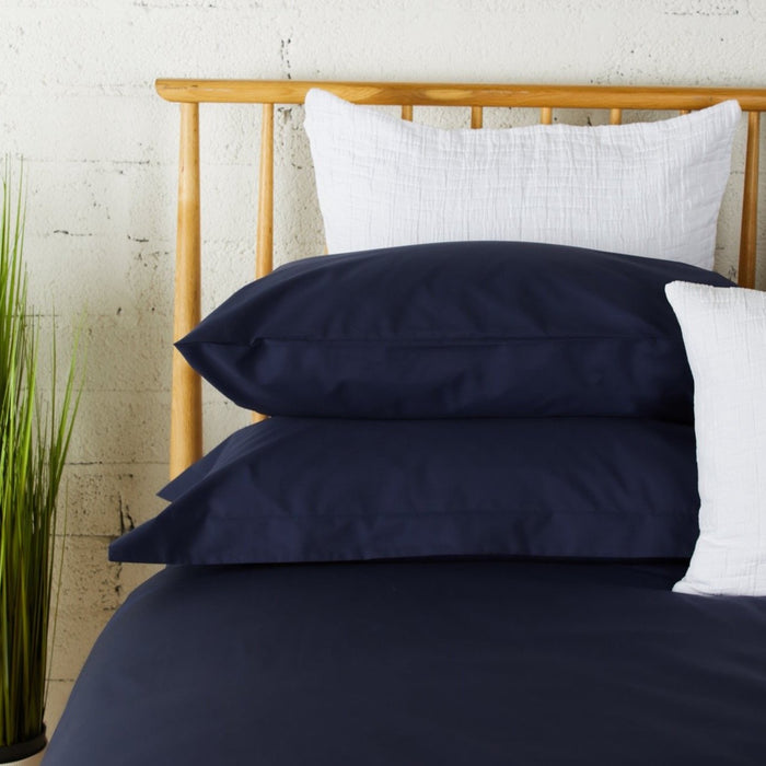 Midnight Percale Plain Dye Housewife Pillowcases - Pair