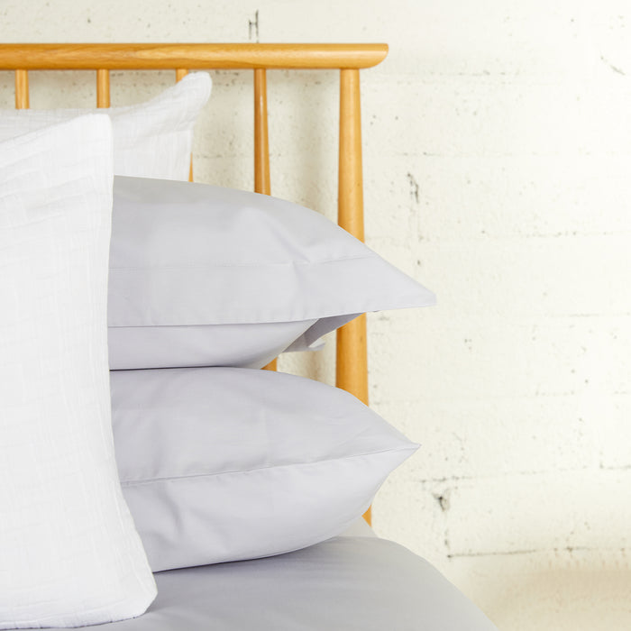 Misty Grey Percale Plain Dye Oxford Pillowcase