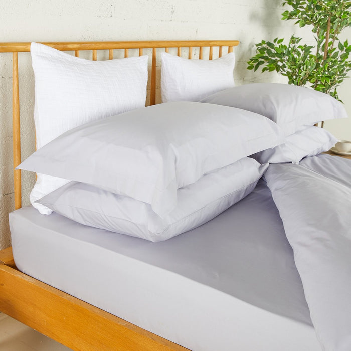 Misty Grey Percale Plain Dye Fitted Sheet