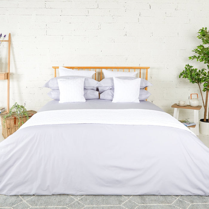 Misty Grey Percale Plain Dye Duvet Set