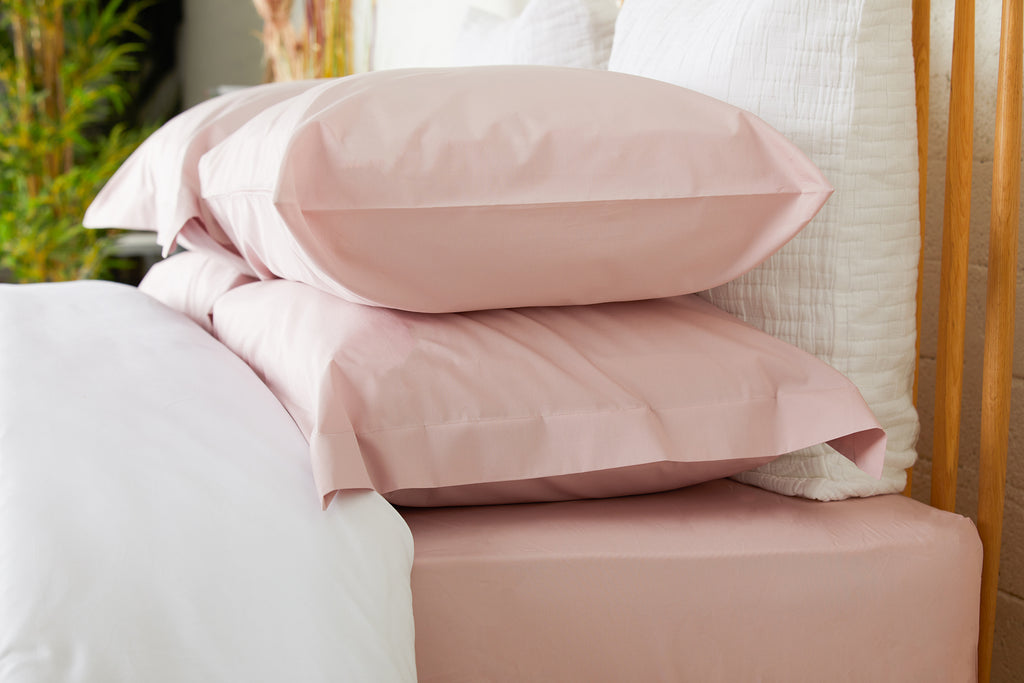 Pink Percale Plain Dye Fitted Sheet