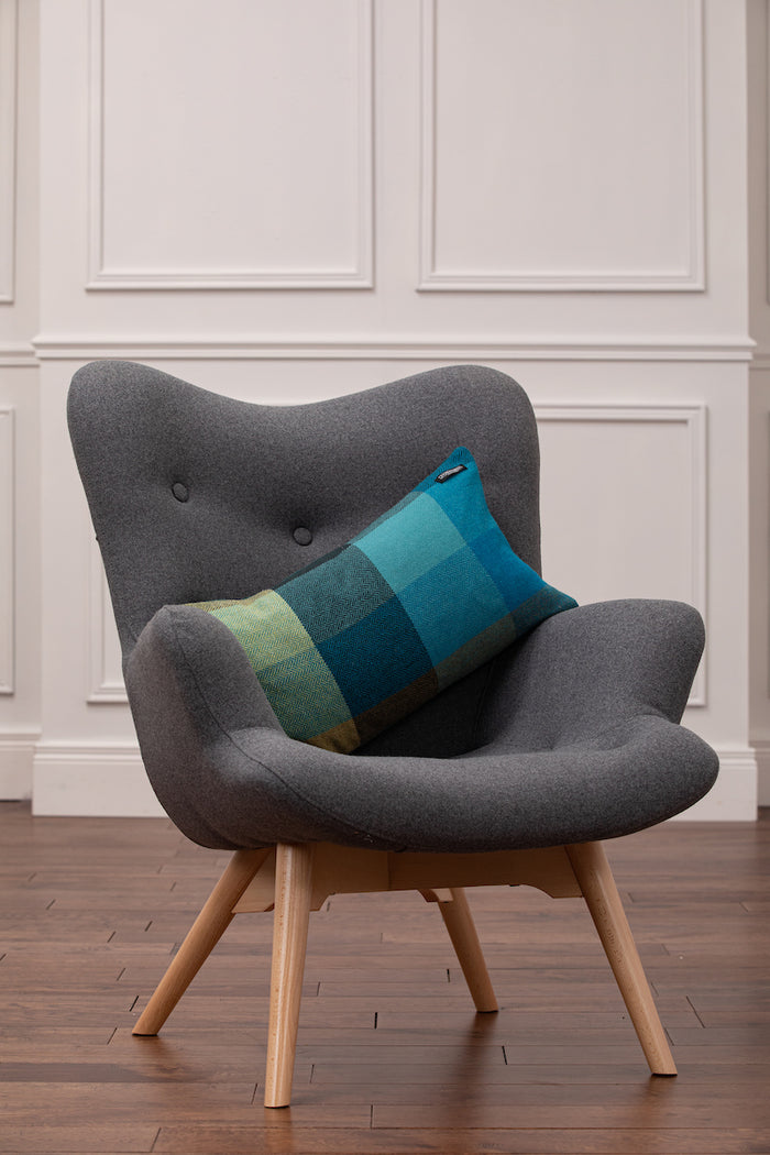 Velvet Teal Green Lambswool Back Oblong Cushion