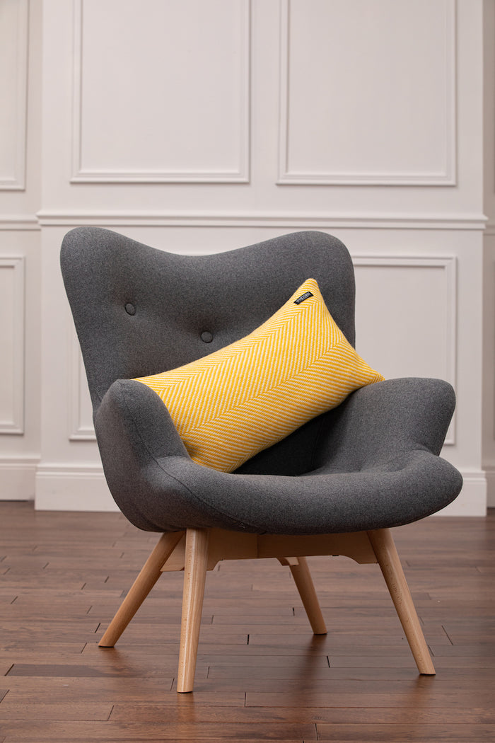 Velvet Yellow Herringbone Oblong Cushion