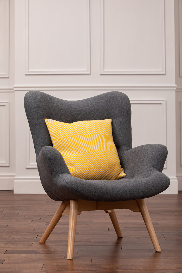Yellow Herringbone Cushion