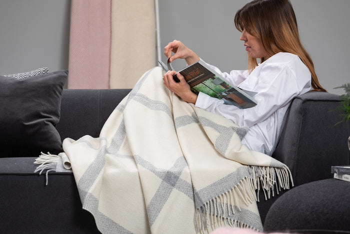 Pearl Grey and White Windowpane Cashmere Throw