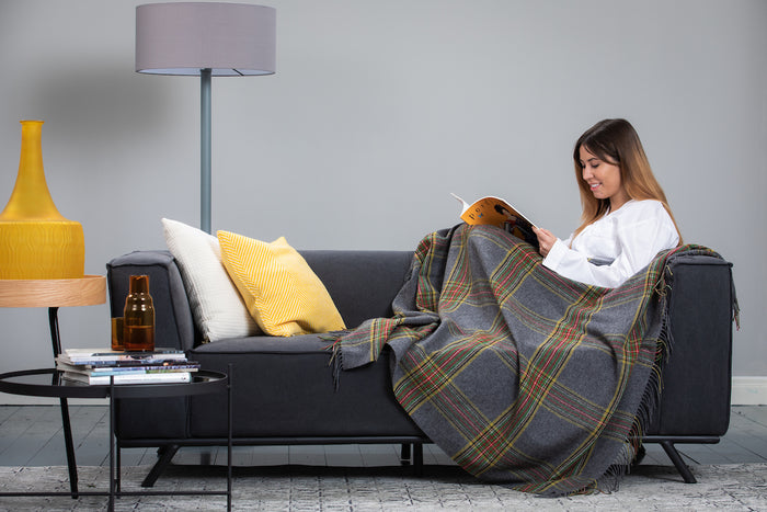 Grey Tartan Throw / Knee Rug
