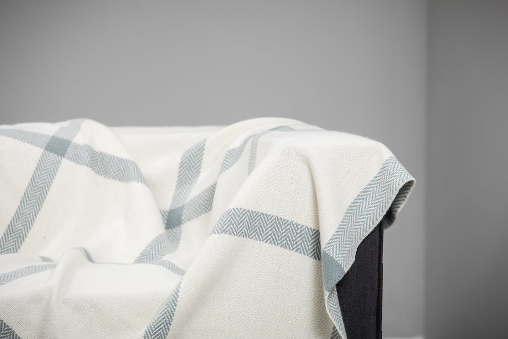 Sage and White Windowpane Cashmere Throw