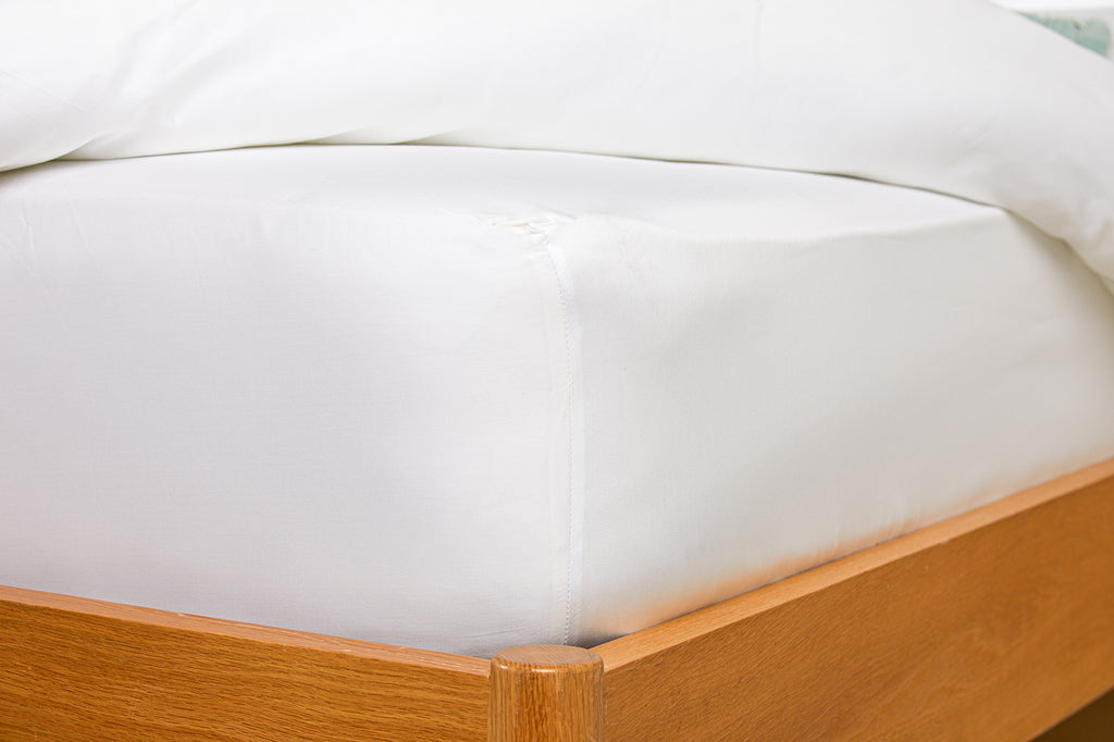 300TC White Sateen Fitted Sheet