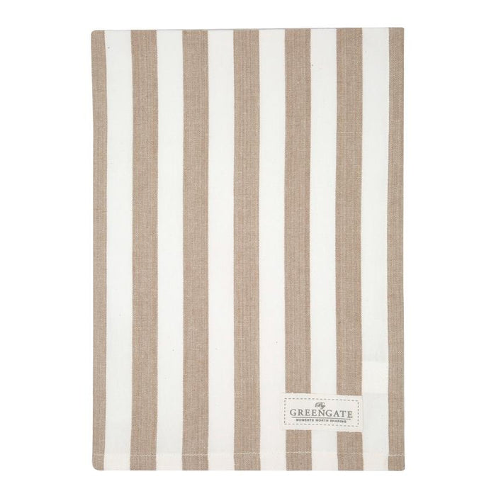 GreenGate Rigmor Tea Towel - White/Brown