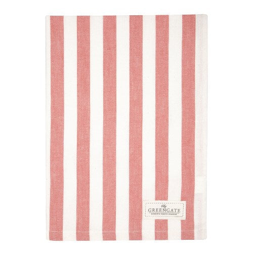 GreenGate Rigmor Tea Towel - Coral