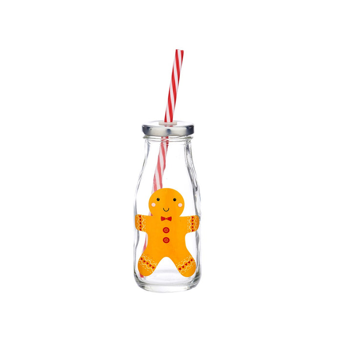 Gingerbread Man Mini Milk Bottle