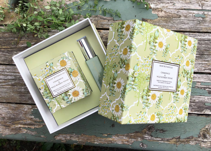 Chamomile & Wild Burren Thyme Candle and Perfume Gift Set