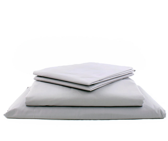Product shot of Foxford's Silver Plain Dye Bed Linen Set. 100% Portuguese Cotton. By Foxford Woollen Mill