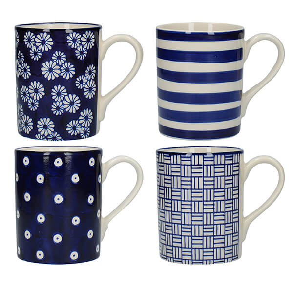 Straight Blue London Pottery Mugs - Set Of 4