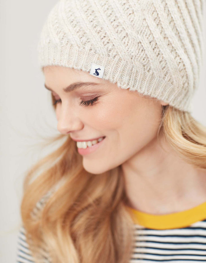Joules Netta Twisted Cable Hat - Cream