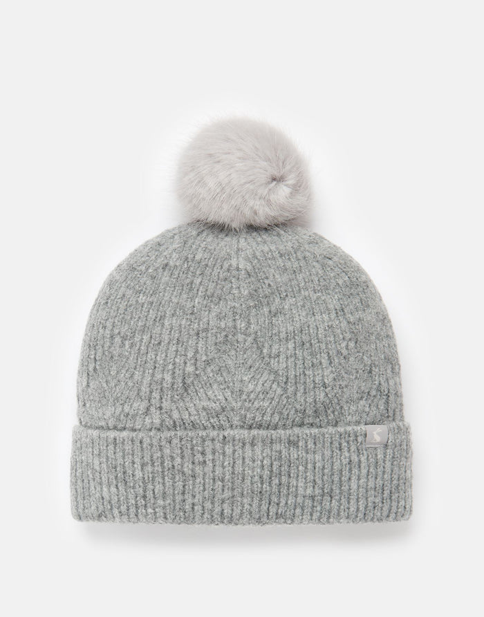 Joules Thurley Knitted Bobble Hat - Grey Marl