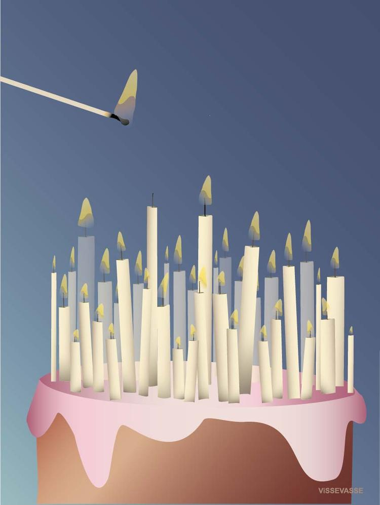 Cake with Candles Greeting Card