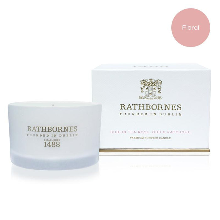 Rathbornes Dublin Tea Rose Oud & Patchouli Scented - Travel Candle