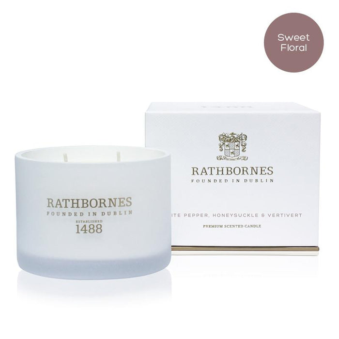 Rathbornes White Pepper, Honeysuckle and Vertivert - Classic Candle