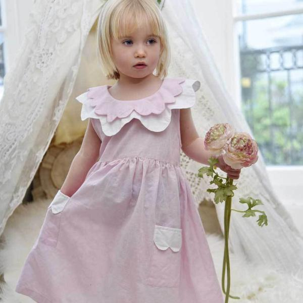 POWDER PINK LINEN DRESS LINED