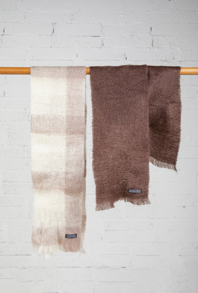 Pack of 2 Mohair Scarfs -  Sand and Chocolate Brown