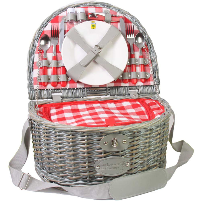 "''Saumur"" Picnic Basket with Shoulder Strap for 2 People"