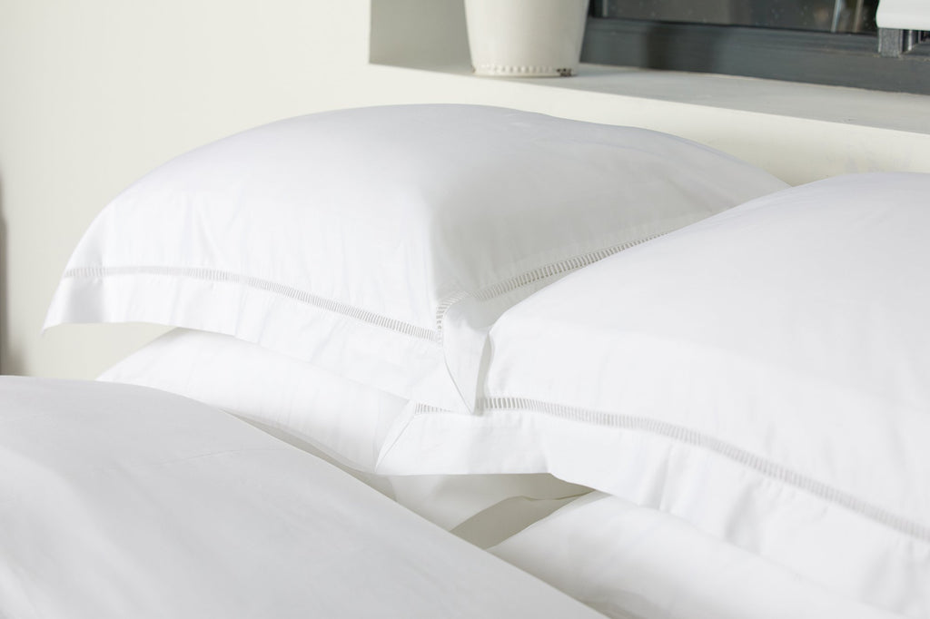 Pure White Ladder Stitch Pillowcase Pair