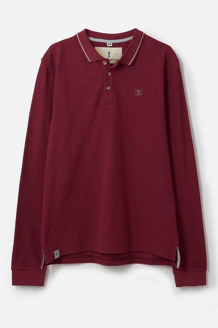 Lighthouse Pier Long Sleeve Polo - Bordeaux