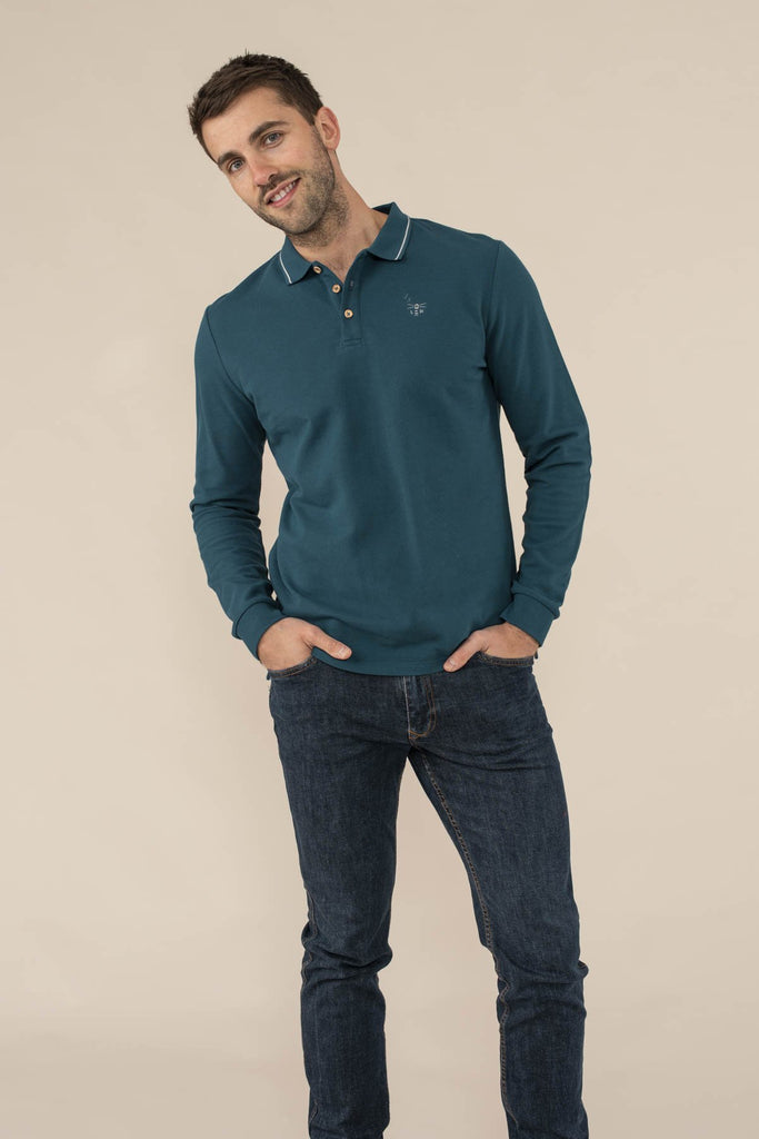 Lighthouse Pier Long Sleeve Polo - Blue Steel