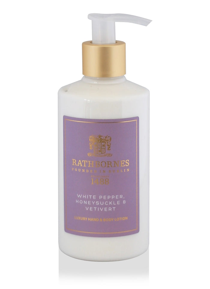 Rathbornes White Pepper, Honeysuckle and Vertivert - Hand and Body Lotion