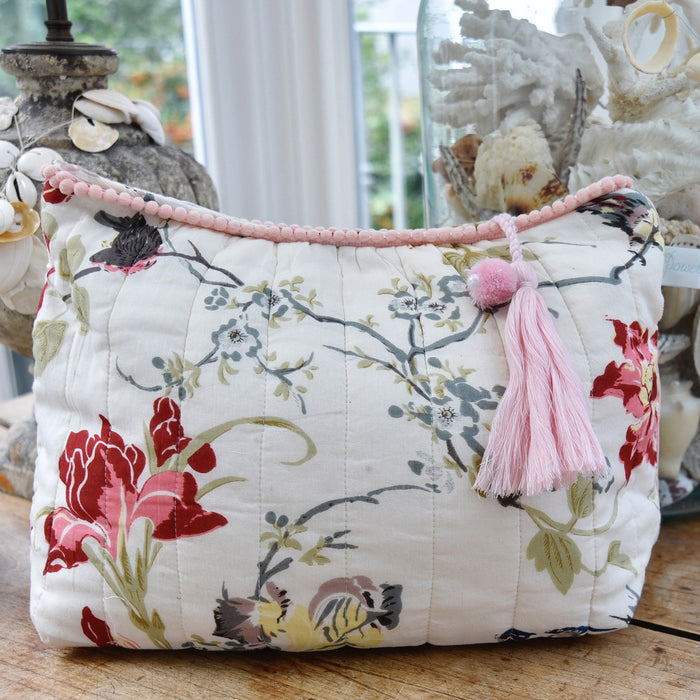 Red & Pink Rose Floral Wash Bag