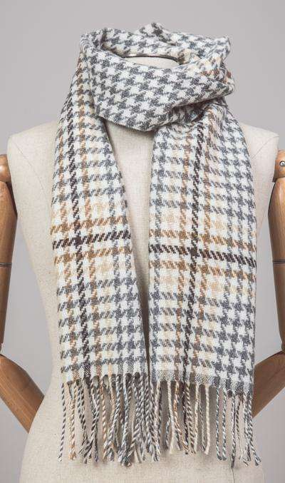 Brown and Gold Check Scarf