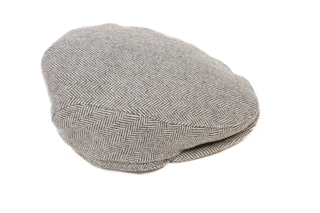 Grey & White Herringbone Slim Cap