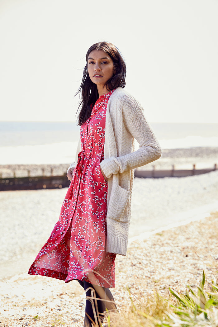 Joules Textured Long Line Cardigan - Cream
