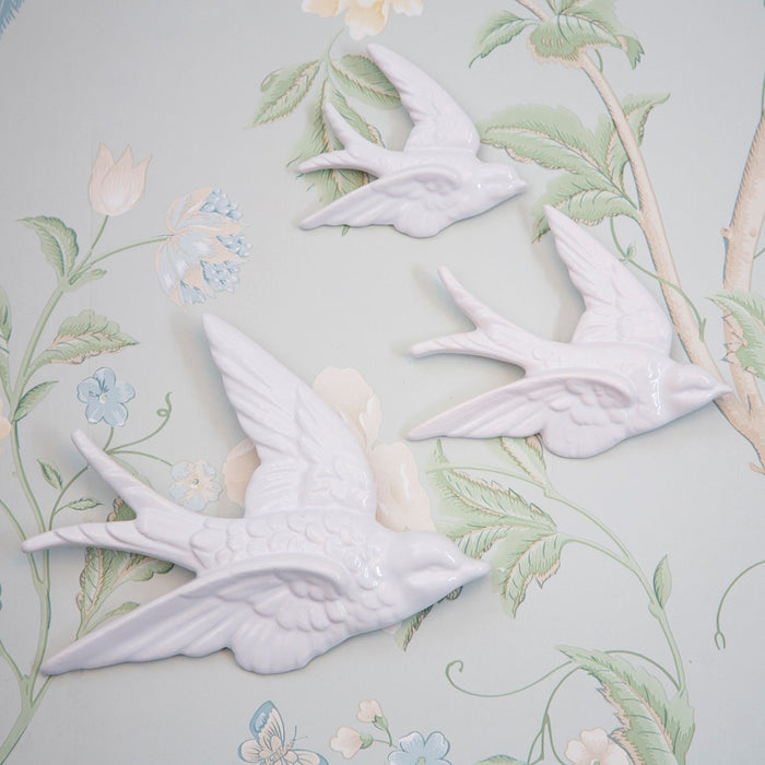 Swallow Wall Decorations White - Set of 3