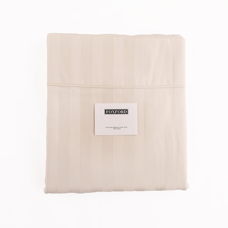 Foxford Classic Sateen Stripe Flat Sheet in Natural