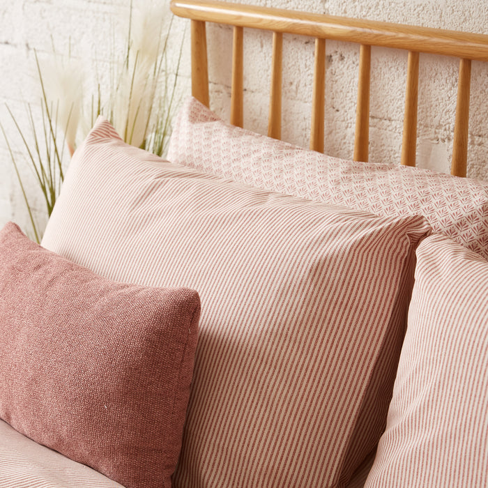 Terracotta & Cream Stripe Housewife Pillowcase - Pair