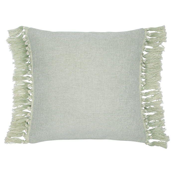 GreenGate Square Cushion Cover with Fringe - Dusty Mint