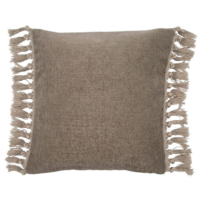 GreenGate Square Cushion Cover with Fringe - Dusty Taupe