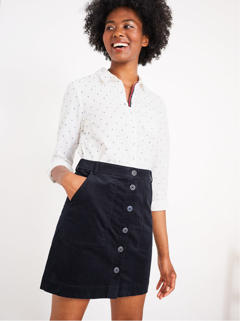 White Stuff Canterbury Organic Cord Skirt- Dark Navy