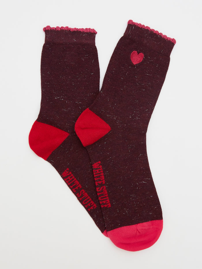 White Stuff Tinsel Heart Sparkle Socks