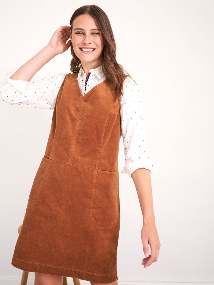 White Stuff Weekend Cord Pinafore Dress- Tan