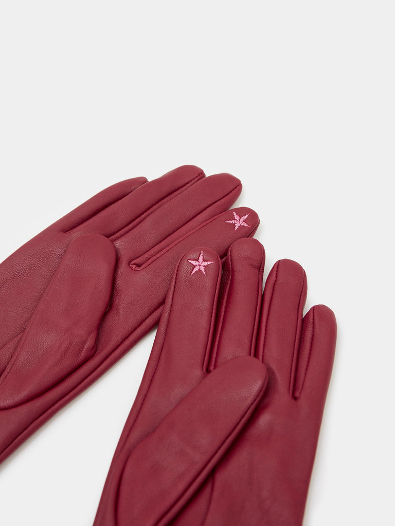 White Stuff Wool Cuff Leather Gloves- Plum